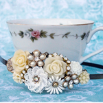 Vintage Bridal Headband, Shabby Chic Collage Headband, Bridesmaid Headband
