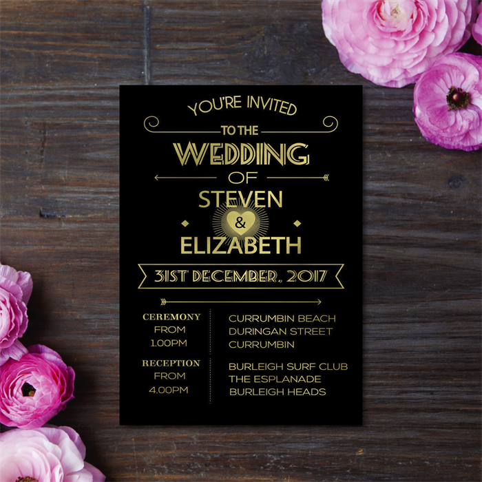 Gold Foil Wedding Invitation Engagement Birthday