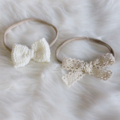 2 Pack Head bands with Knitted Bow & Lace Bow | Custom Colours | Made to Order