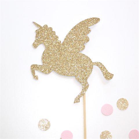 Unicorn Cake Topper Gold Glitter Birthday Cake | Little ...