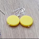 Yellow plastic beaded dangle earrings