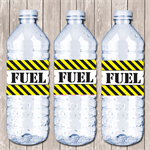 Construction Themed Personalised Water Bottle Labels - YOU PRINT