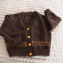 Size 2 yrs hand knitted cardigan; dark brown & burnt orange, OOAK, washable, boy
