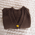 Size 2 yrs hand knitted cardigan; dark brown & burnt orange, OOAK, washable, boy