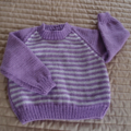 SIZE 2: - Hand knitted jumper in purple and white: OOAK, washable, warm