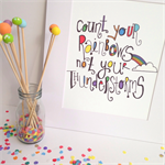 """Count Your Rainbows Illustration Print.  8x10"""" / A4"""