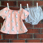 BABY PEASANT OUTFIT PEACH AND GREY WITH BUNNIES,  size 0-3 3-6 6-12 12-18 months