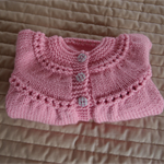 SIZE 1-2 years - knitted cardigan in musk pink: girl, washable, easy care
