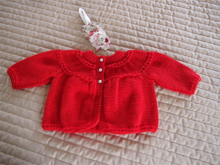 94f1af983 SIZE 0-6 months - Hand knitted baby cardigan  jacket in red ...