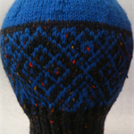 Wool Beanie - blue and black - Teem/adult