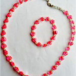 Girls Pink Embossed Heart Necklace and Bracelet