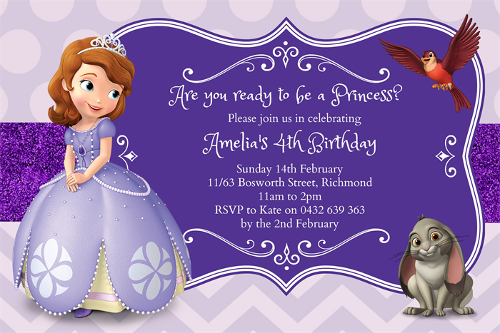 Sofia The First Party Invitation Smiley And Stitch Madeitcomau - Sofia the first invitation template