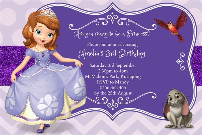 Sofia The First Invitation Template