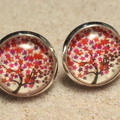 Tree Glass Dome Cabochon Stud Earrings
