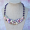 Floral Collage Necklace, Pink and Purple necklace, Bib Necklace