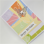 Birthday Card - Metal Butterfly on Sparkly, Colourful, Abstract Paper