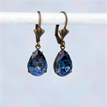 Montana Pear Swarovski Rhinestone Earrings, Blue Swarovski Earrings