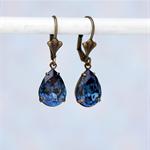 Montana Pear Swarovski Rhinestone Earrings, Blue Swarovski Earrings