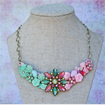Mint and Pink Collage Necklace, Vintage Collage Necklace