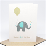 1st Birthday Card Boy - Elephant with Blue Party Balloon - HBC194
