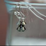 Minimalist mini bicone crystal beads drop earrings (dark brown, silver hook)