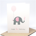 1st Birthday Card Girl - Elephant with Pink Party Balloon - HBC195