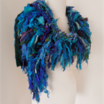 recycled silk jewel peacock blues boho chic tattered scarf wrap handknitted