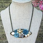 Something Blue Collage Necklace, Something Blue Bridal Necklace