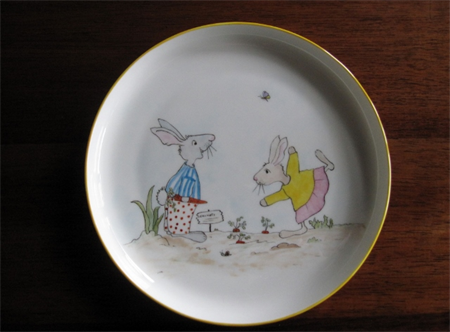 Hand painted rabbit plate