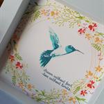 Hummingbird & Wreath Shadow Box