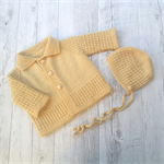 Little Cardigan & Bonnet - Hand Knitted - Size 0 - 100% Australian Wool