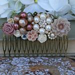 Vintage Blush Collage Hair Comb, Bridal Comb, Collage Bridal Comb, Bridal Hair C