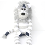 'Larry' the Sock Lion - grey and white stripes - *MADE TO ORDER*