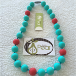 Sphere - Scarlet Aqua silicone teething necklace