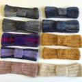 Sale crochet headband boho ear warmer turband dusty pink sequins