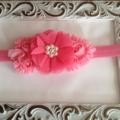 Pink Chiffon Flower Headband. Made to size