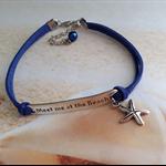 Nautical Meet me at the Beach Blue Suede Cord Starfish Charm Bracelet Jewellery