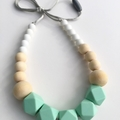 Washable Silicone Mint & Round Wood Necklace