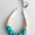 Washable Silicone Dark Aqua & Round Wood Necklace