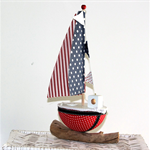One  Little Sail Boat room decoration... choice of red/blue  or grey/yellow