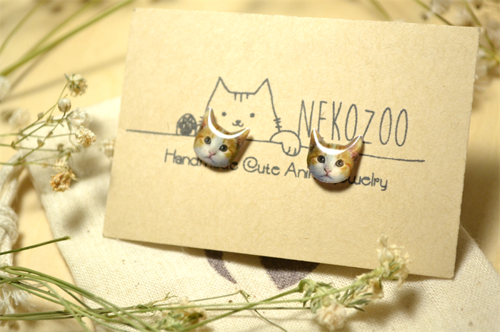 Orange Cat Cute Jewelry Tiny Resin Stud Earrings With