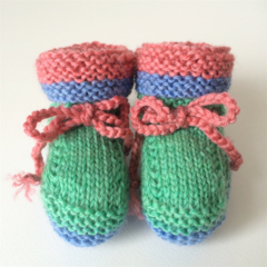 2 x Baby Boys Booties | Pure Wool | Newborn | Blue | Red | Green | Hand Knitted