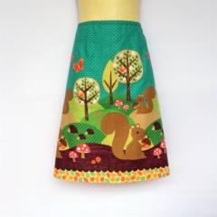 Ladies Retro Squirrel A Line Skirt - sizes 8-18 mushroom, hedgehog, tree