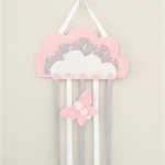 Cloud hair clips holder, felt, pastel pink, storage, wall decor, grey