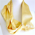 Silk satin infinity scarf in soft yellows.  Upcycled from vintage kimonos