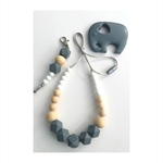 Gift Set - Washable Silicone Necklace, Keyring & Teething Elephant
