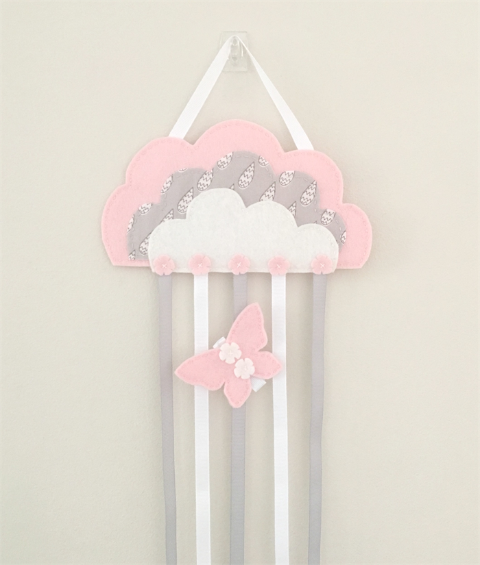 Cloud hair clips holder, felt, pastel pink, storage, wall decor ...