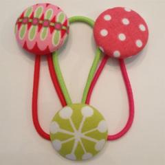 Trio 28mm  fabric button hairties