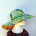 Retro Blue & Orange Daisy Reversible Sun Hat - Girls / Ladies sizes, bucket