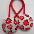 28mm Ladybird fabric button hairties